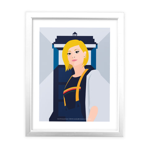 Thirteenth Doctor Tardis White Framed Art Print