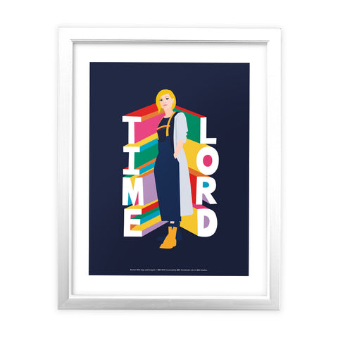 Thirteenth Doctor Time Lord White Framed Art Print