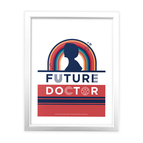 Thirteenth Doctor Future White Framed Art Print