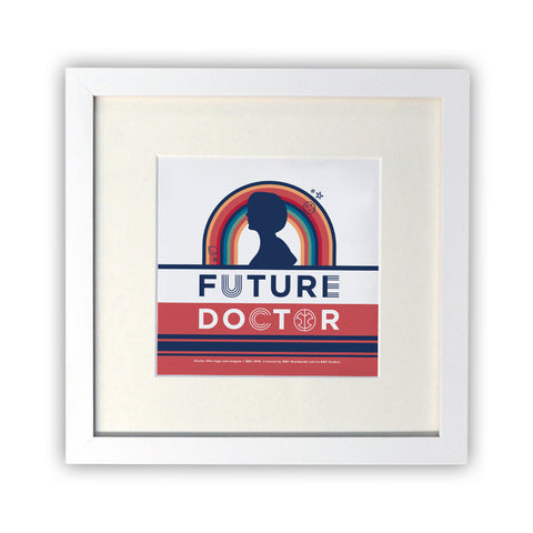 Thirteenth Doctor Future Square White Framed Print