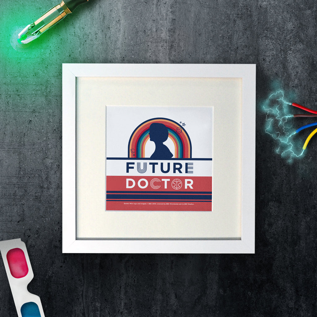 Thirteenth Doctor Future Square White Framed Art Print (Lifestyle)