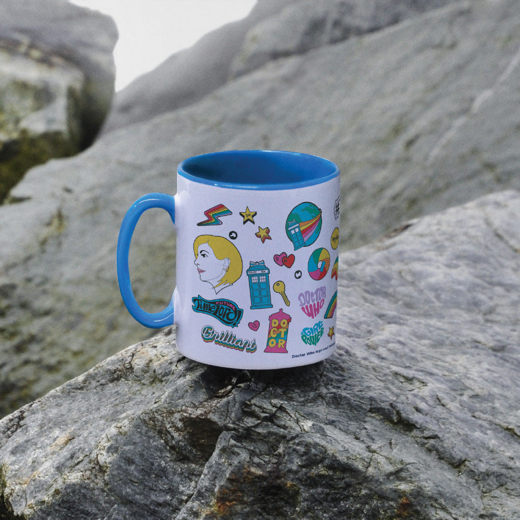 Thirteenth Doctor Pattern Blue Colour Insert Mug (Lifestyle)