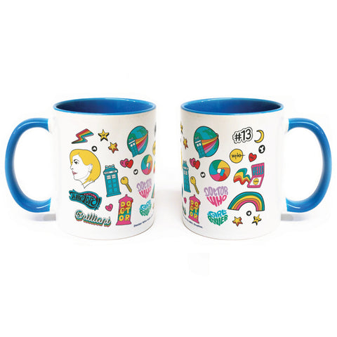 Thirteenth Doctor Pattern Blue Colour Insert Mug