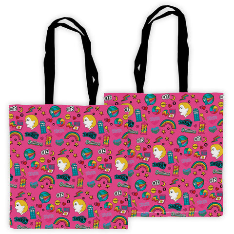 Thirteenth Doctor Pattern Pink Edge to Edge Tote