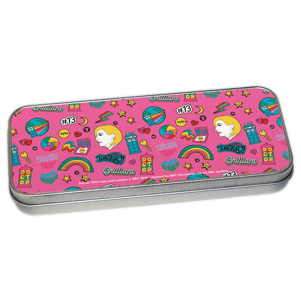 Thirteenth Doctor Pattern Pink Pencil Tin
