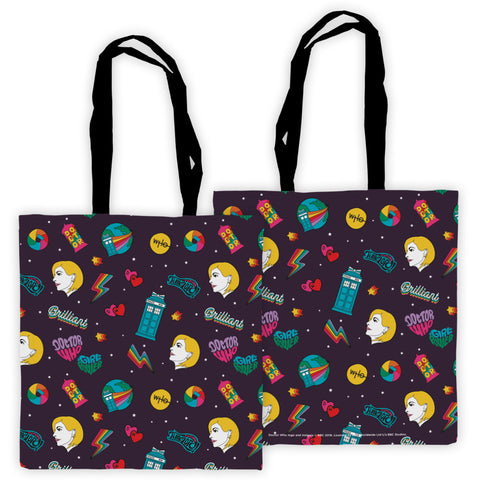 Thirteenth Doctor Pattern Purple Edge to Edge Tote