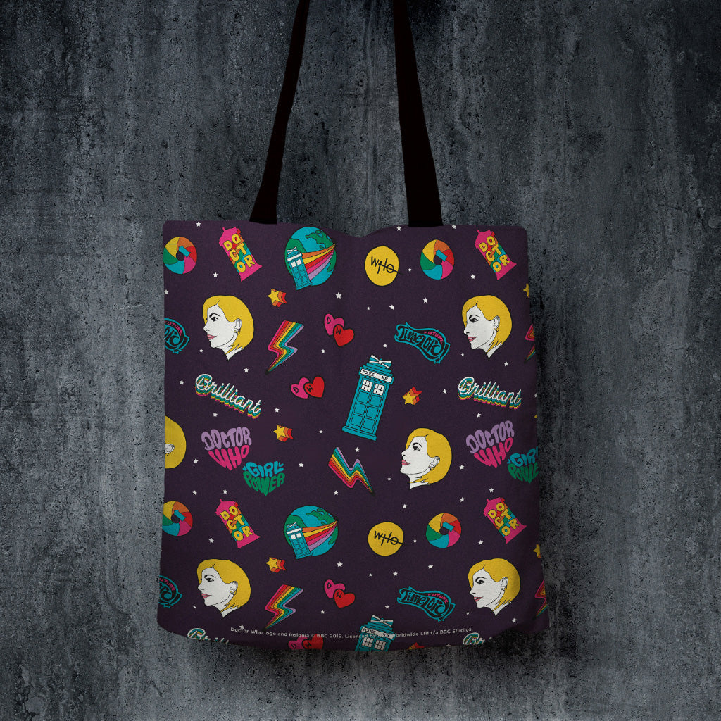 Thirteenth Doctor Pattern Purple Edge to Edge Tote (Lifestyle)