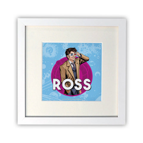 Tenth Doctor Personalised Square White Framed Print
