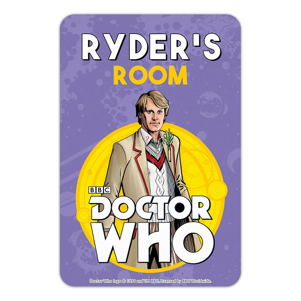 Fifth Doctor Personalised Door Plaque