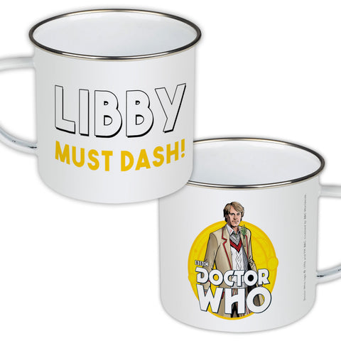 Fifth Doctor Personalised Enamel Mug