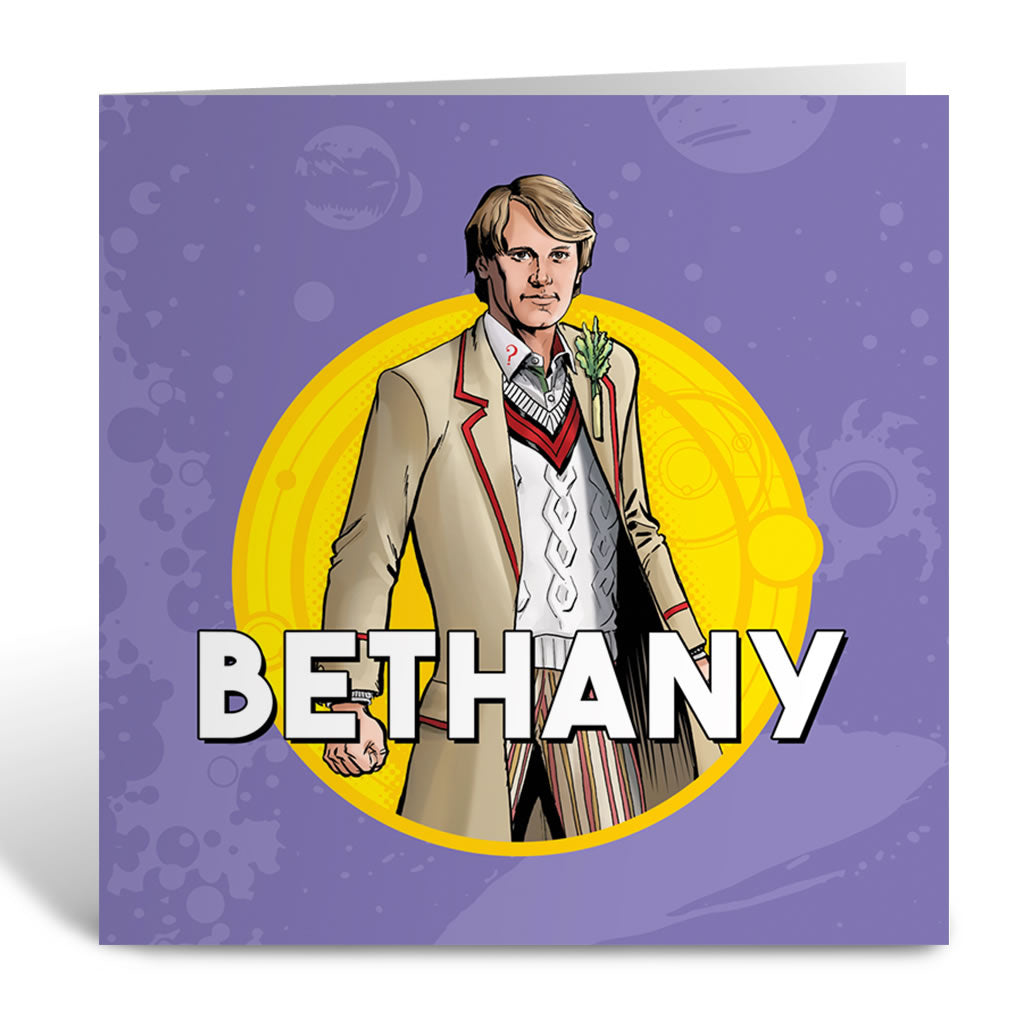 Fifth Doctor Personalised Greeting Card