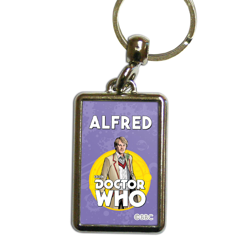 Fifth Doctor Personalised Metal Keyring