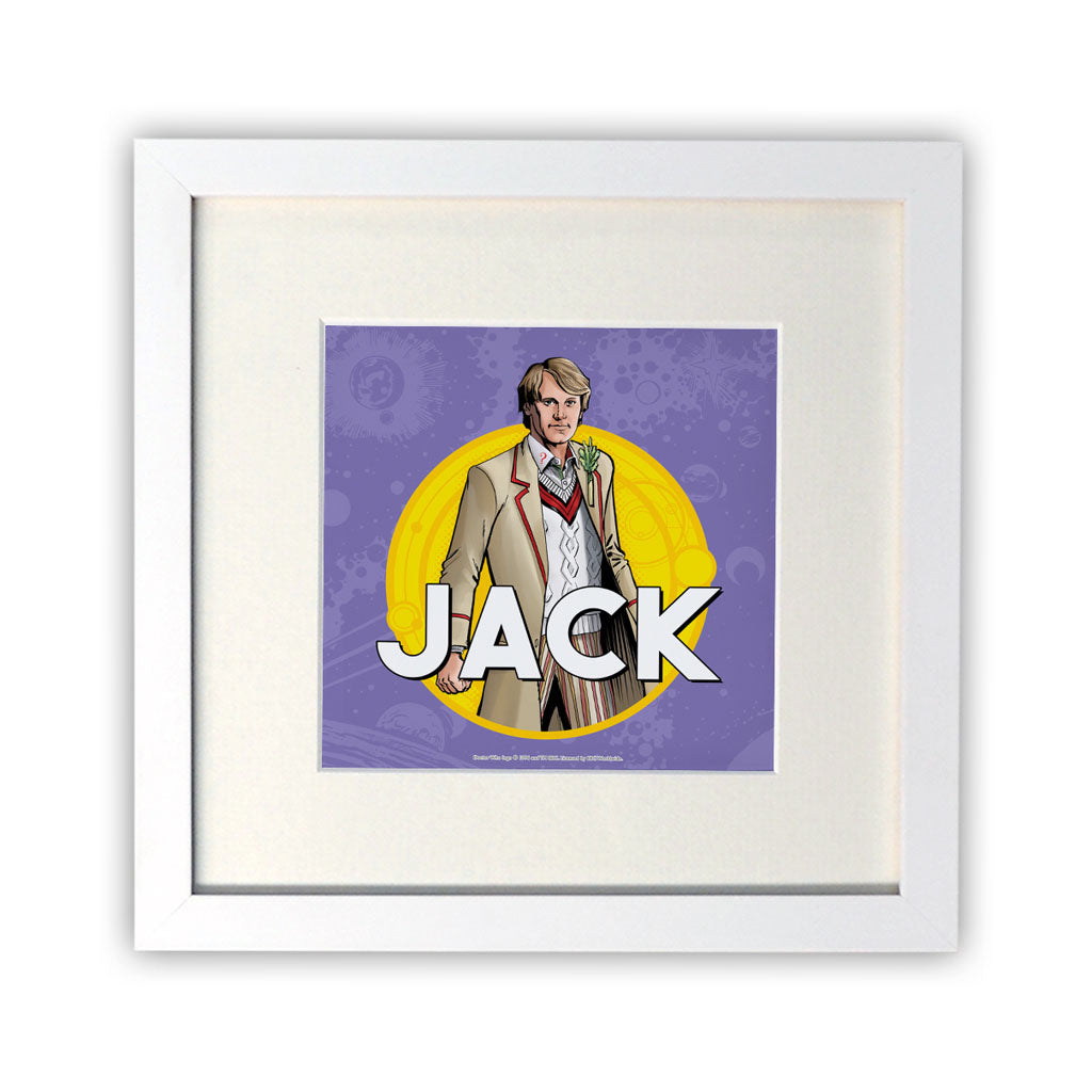 Fifth Doctor Personalised Square White Framed Print