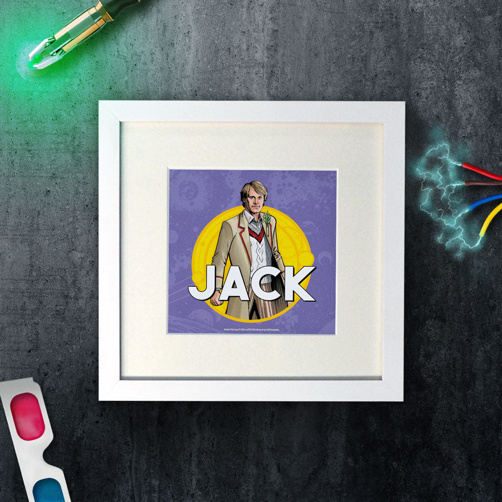 Fifth Doctor Personalised Square White Framed Print (Lifestyle)