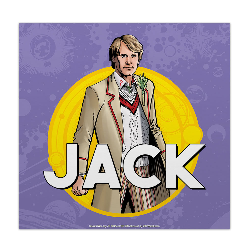 Fifth Doctor Personalised Square Art Print