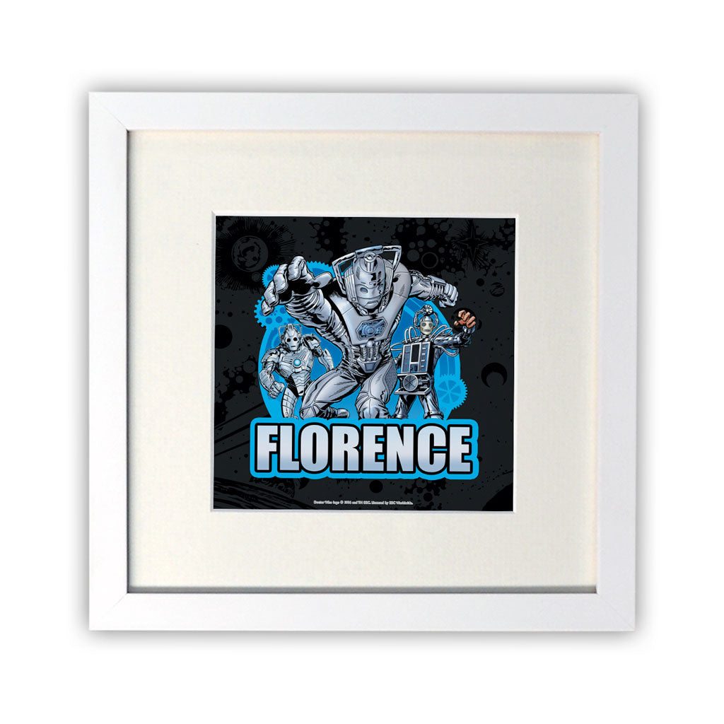 Cybermen Personalised Square White Framed Print