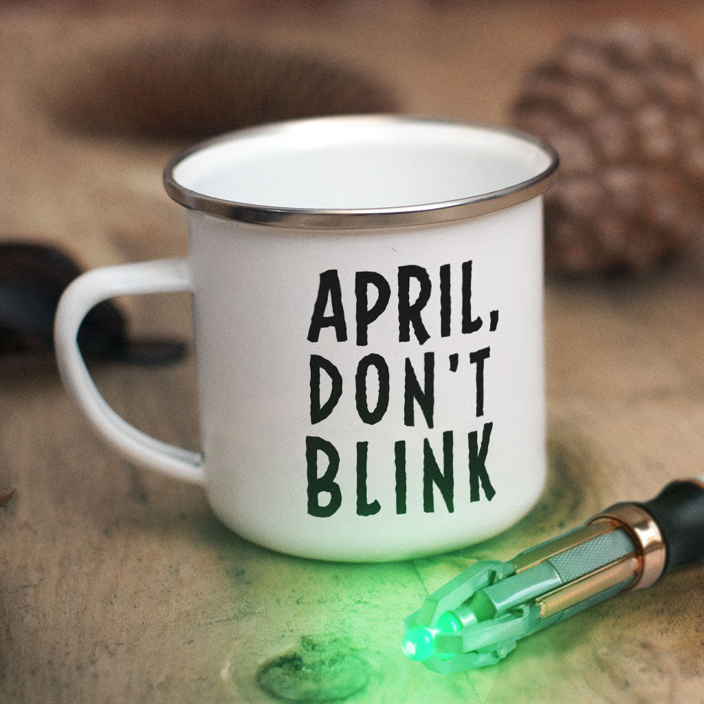 Weeping Angel Personalised Enamel Mug (Lifestyle)