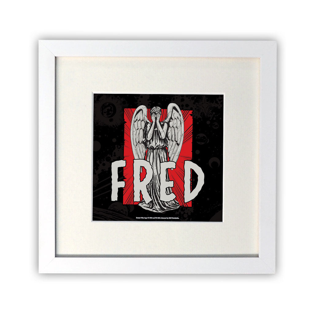 Weeping Angel Personalised Square White Framed Print