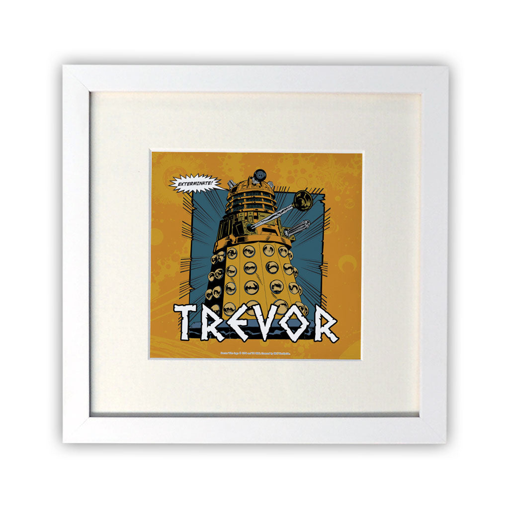 Dalek Personalised Square White Framed Print