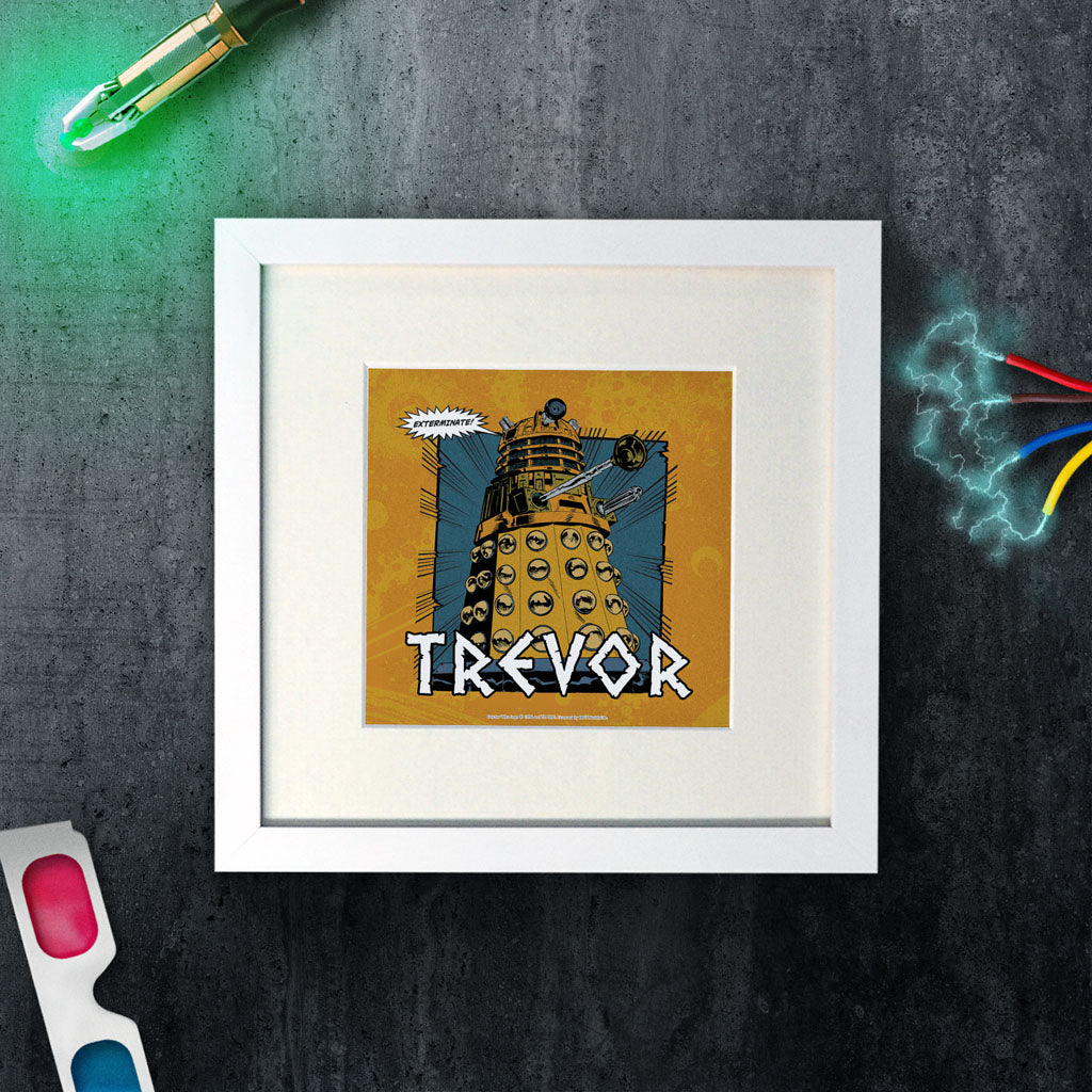 Dalek Personalised Square White Framed Print (Lifestyle)