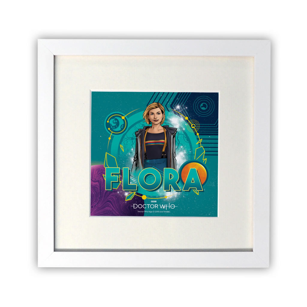 Thirteenth Doctor Personalised Square White Framed Print