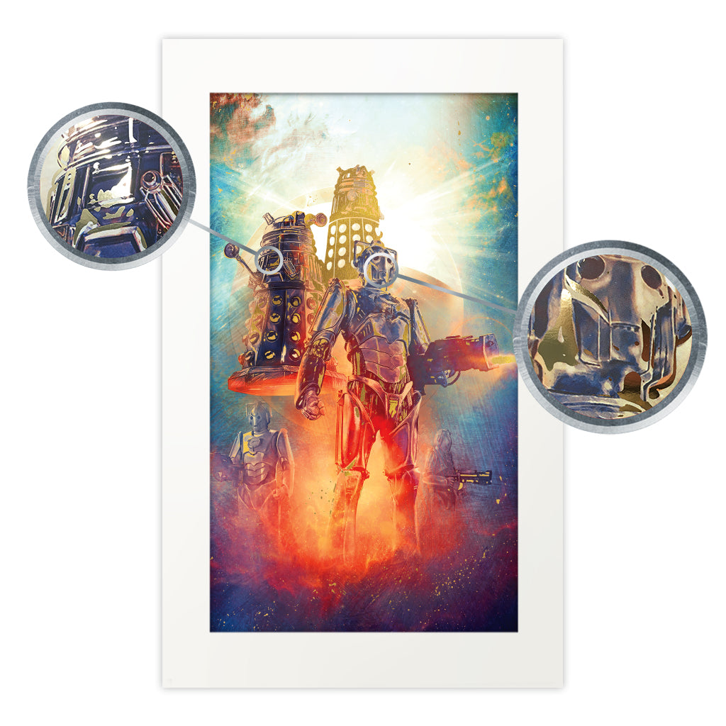 Limited Edition Gold Foil Cybermen and Dalek Art Print