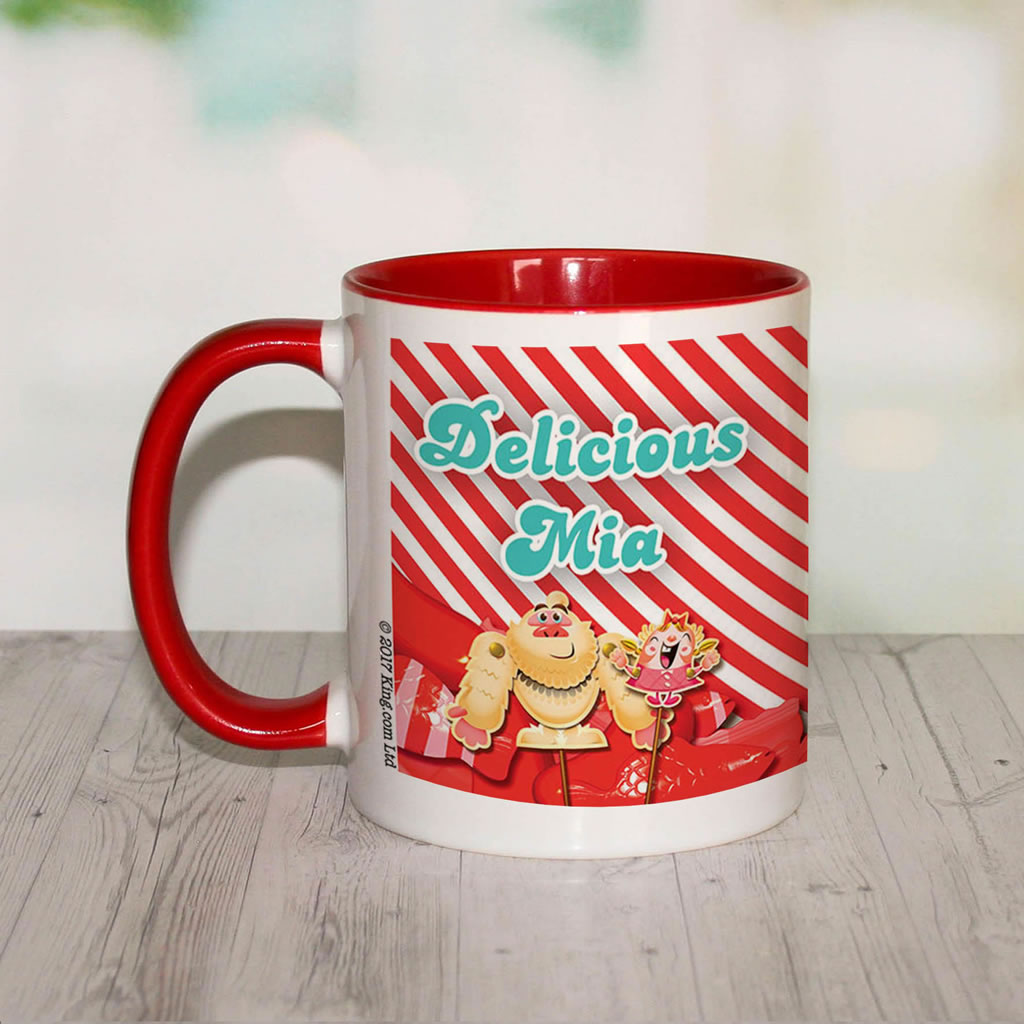 Mr Yetti & Tiffi Red Stripy Coloured Insert Mug (Lifestyle Front)