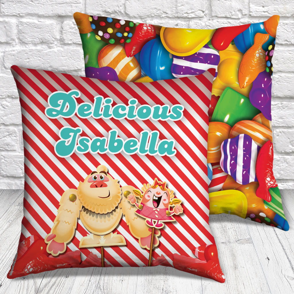 Mr Yetti & Tiffi Red Stripy Cushion (Lifestyle)