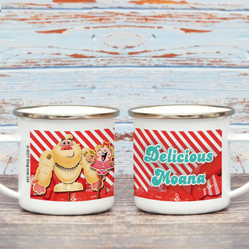 Mr Yetti & Tiffi Red Stripy Enamel Mug (Lifestyle)