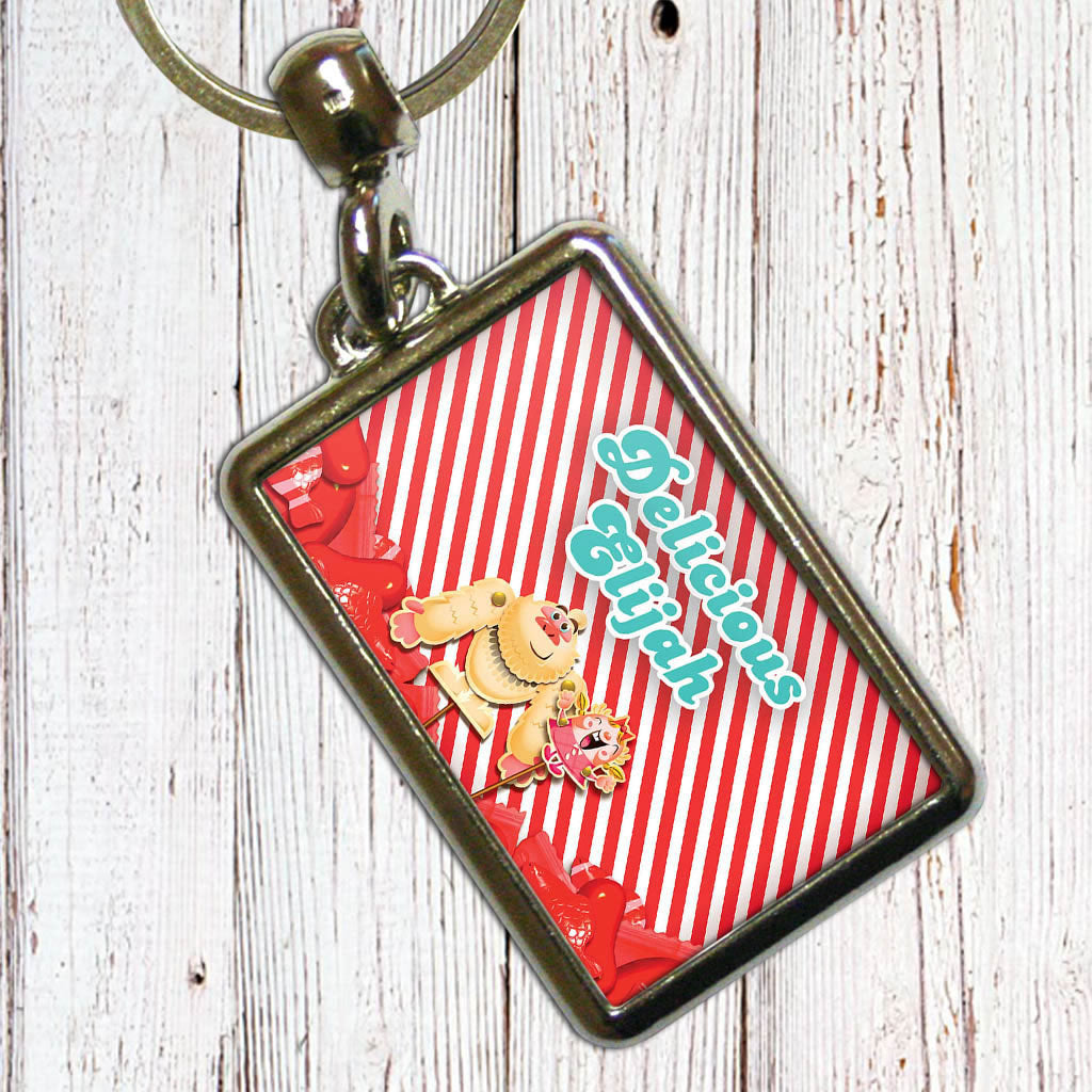 Mr Yetti & Tiffi Red Stripy Metal Keyring (Lifestyle)