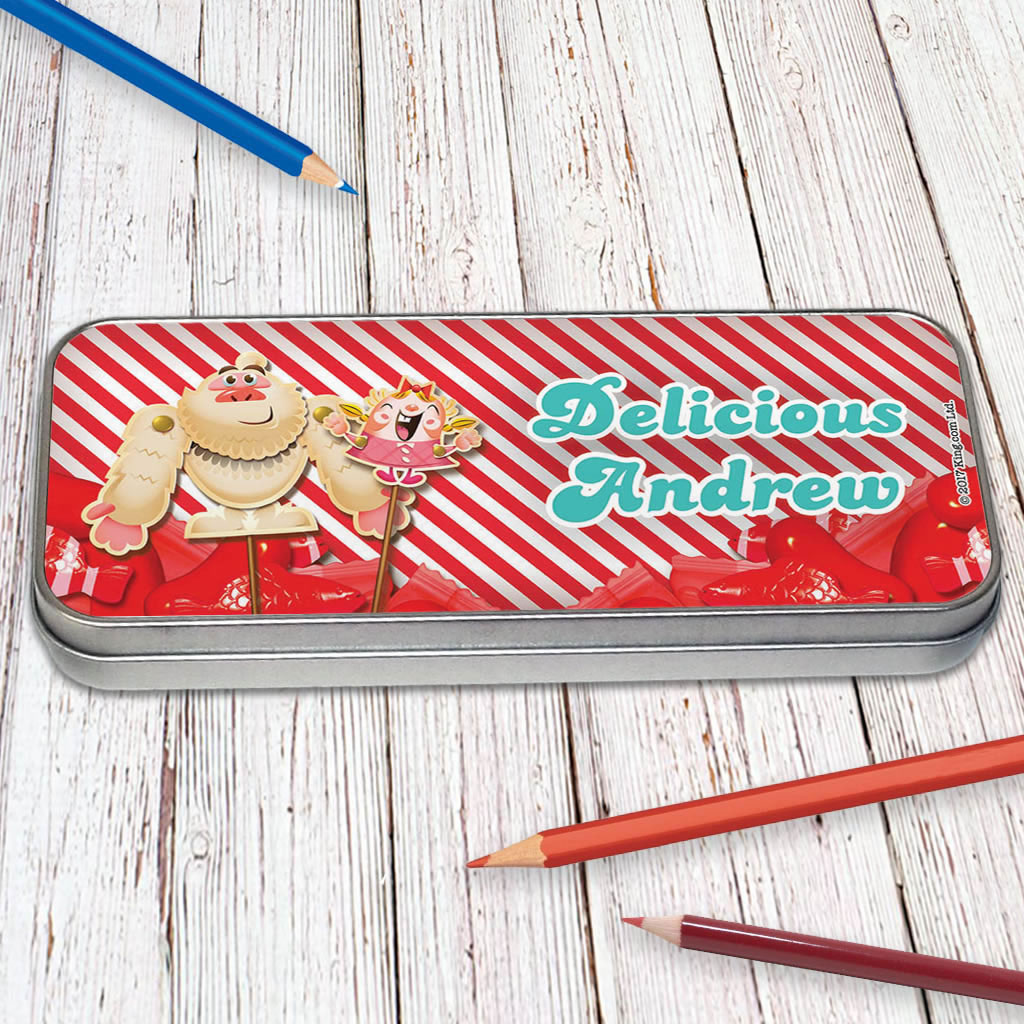 Mr Yetti & Tiffi Red Stripy Pencil Tin (Lifestyle)