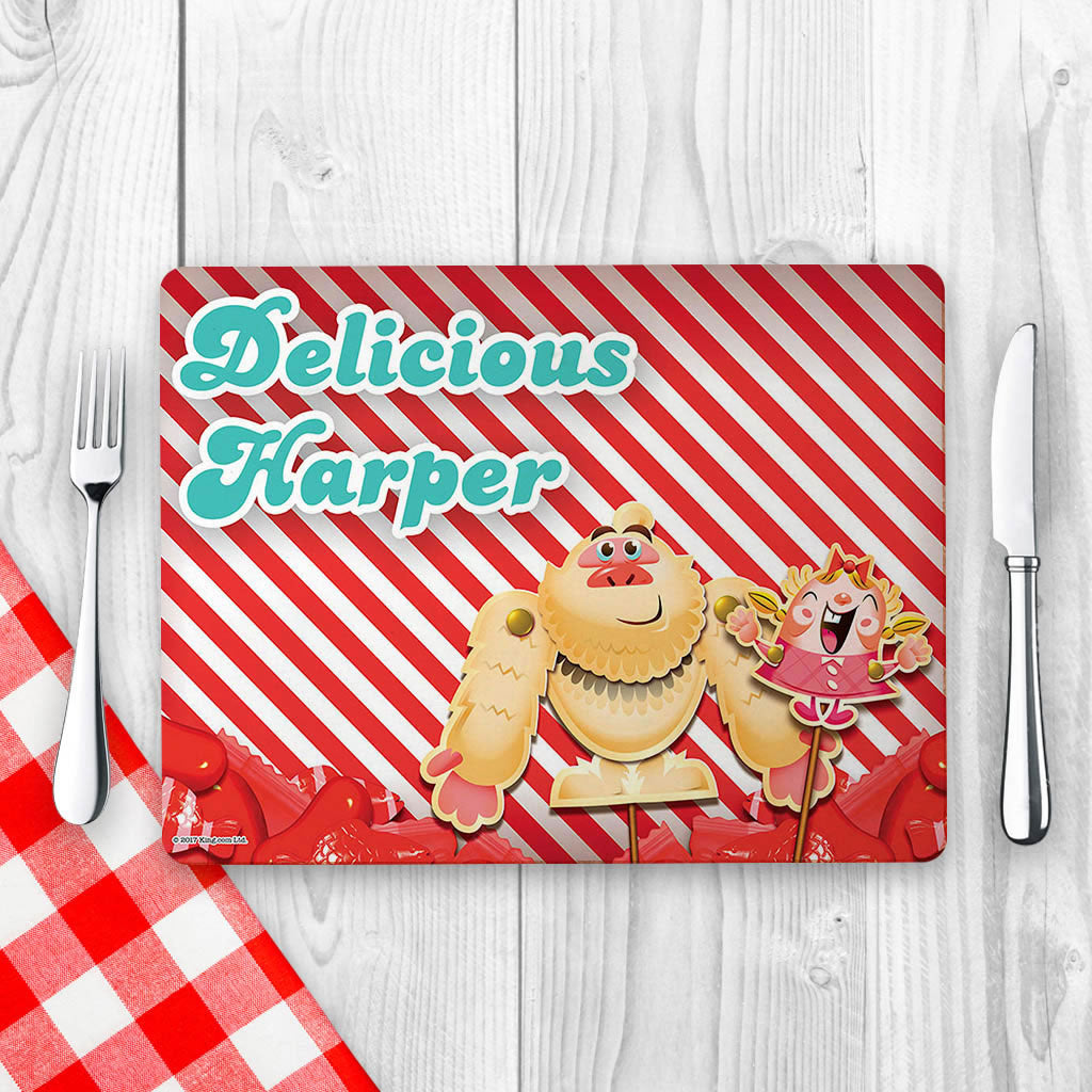 Mr Yetti & Tiffi Red Stripy Placemat (Lifestyle)