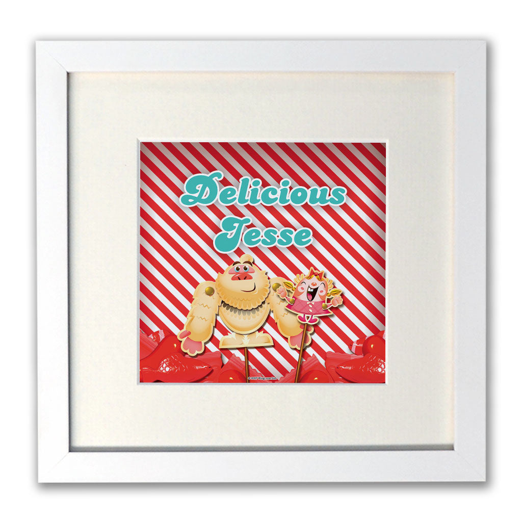 Mr Yetti & Tiffi Red Stripy White Framed Print
