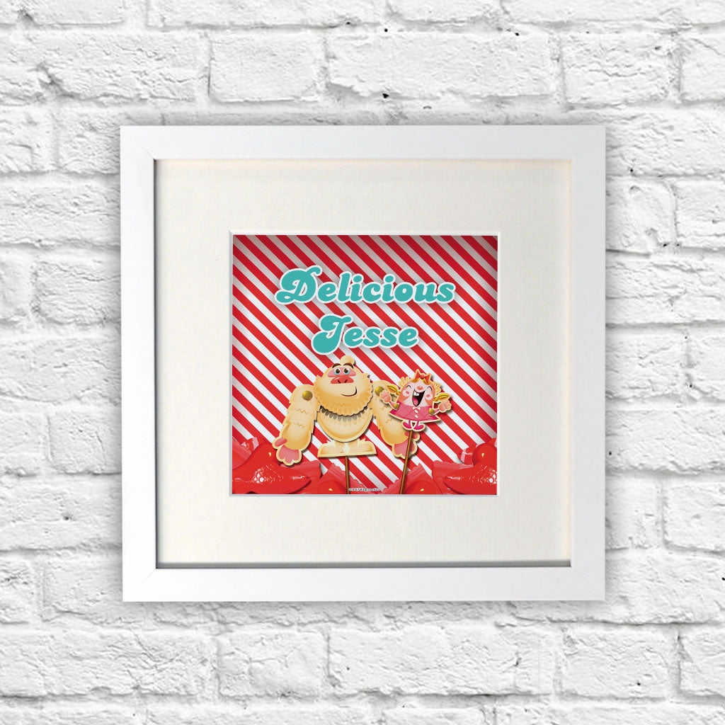 Mr Yetti & Tiffi Red Stripy White Framed Print (Lifestyle)