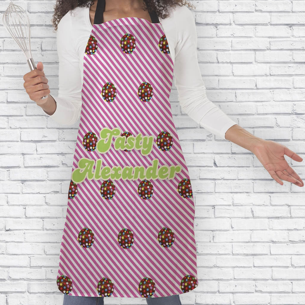 Colour Bomb Pink Stripy Apron (Lifestyle)