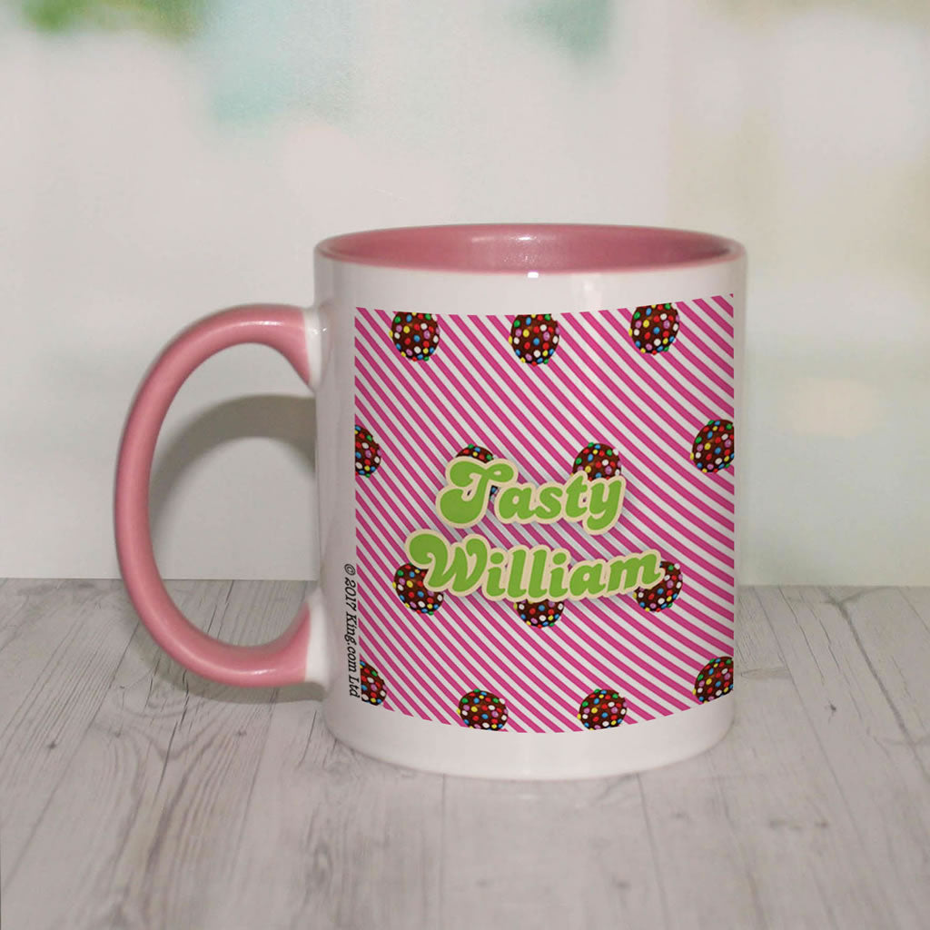 Colour Bomb Pink Stripy Coloured Insert Mug (Lifestyle Front)