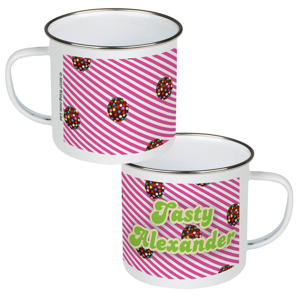 Colour Bomb Pink Stripy Enamel Mug