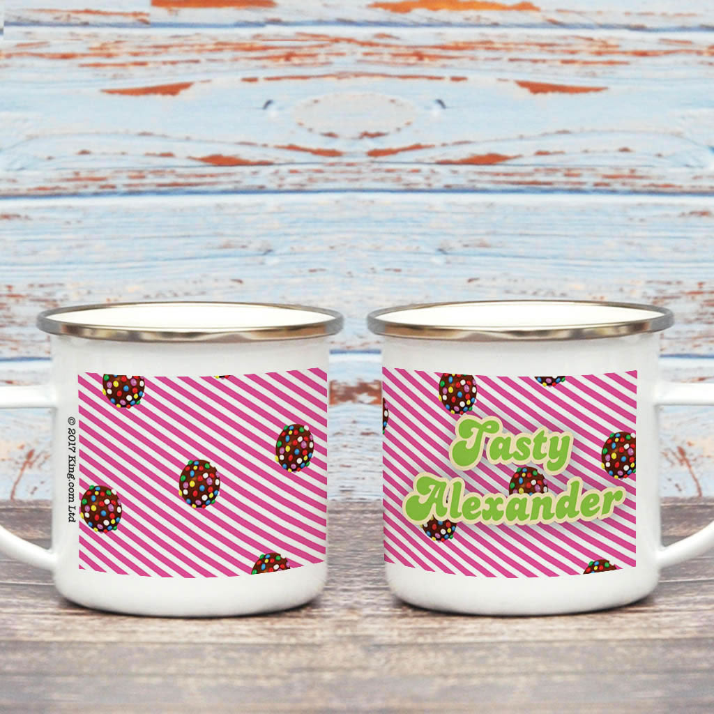 Colour Bomb Pink Stripy Enamel Mug (Lifestyle)