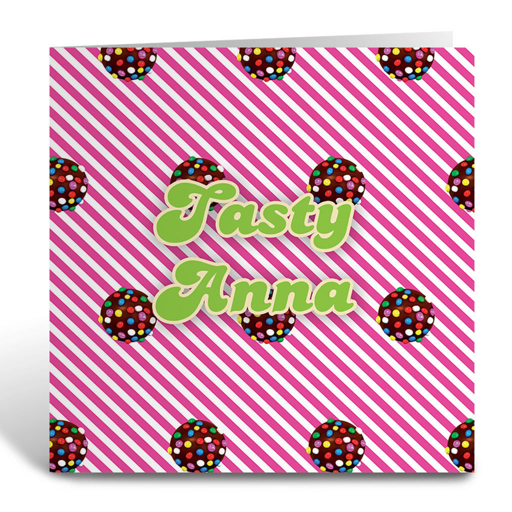 Colour Bomb Pink Stripy Greeting Card
