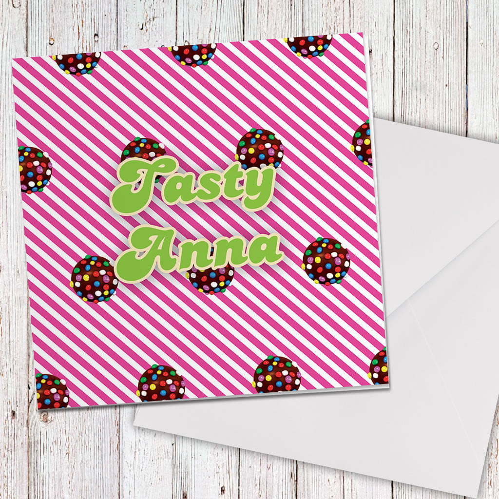 Colour Bomb Pink Stripy Greeting Card (Lifestyle)