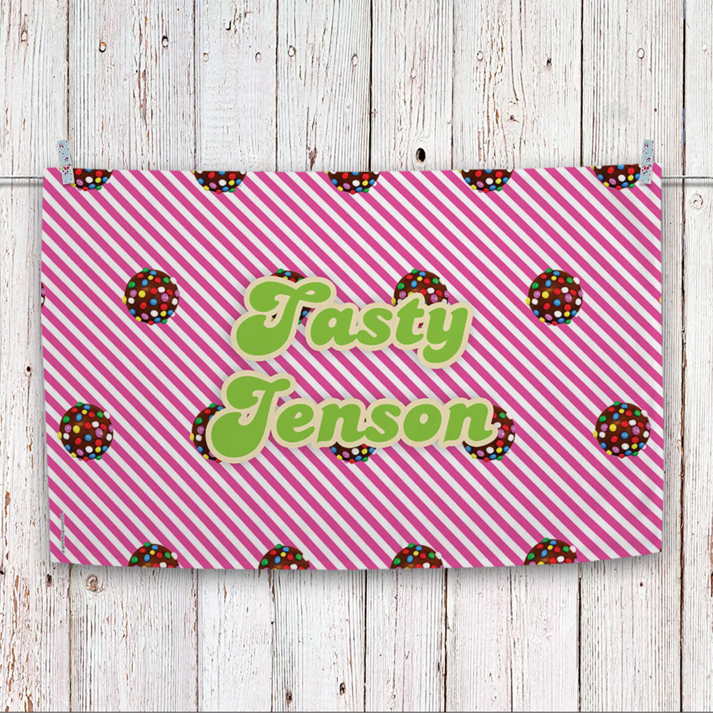 Colour Bomb Pink Stripy Tea Towel (Lifestyle)