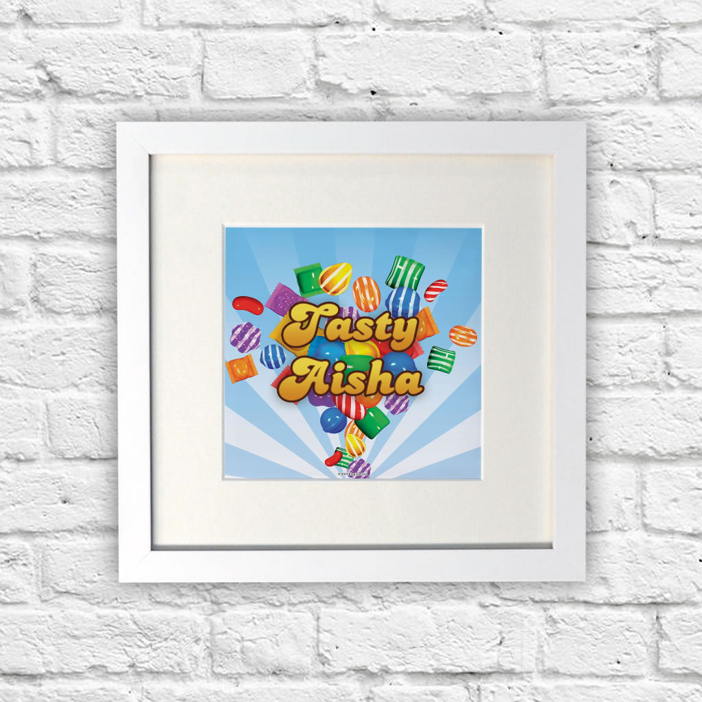 Falling candies White Framed Print (Lifestyle)