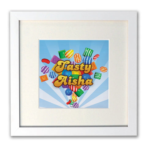 Falling candies White Framed Print