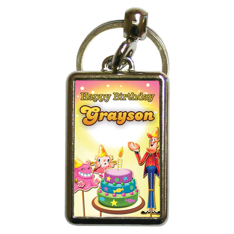 Happy Birthday Metal Keyring