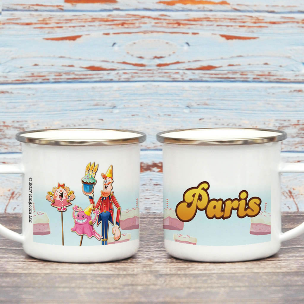 Tiffi & Mr Toffee Cake Enamel Mug (Lifestyle)