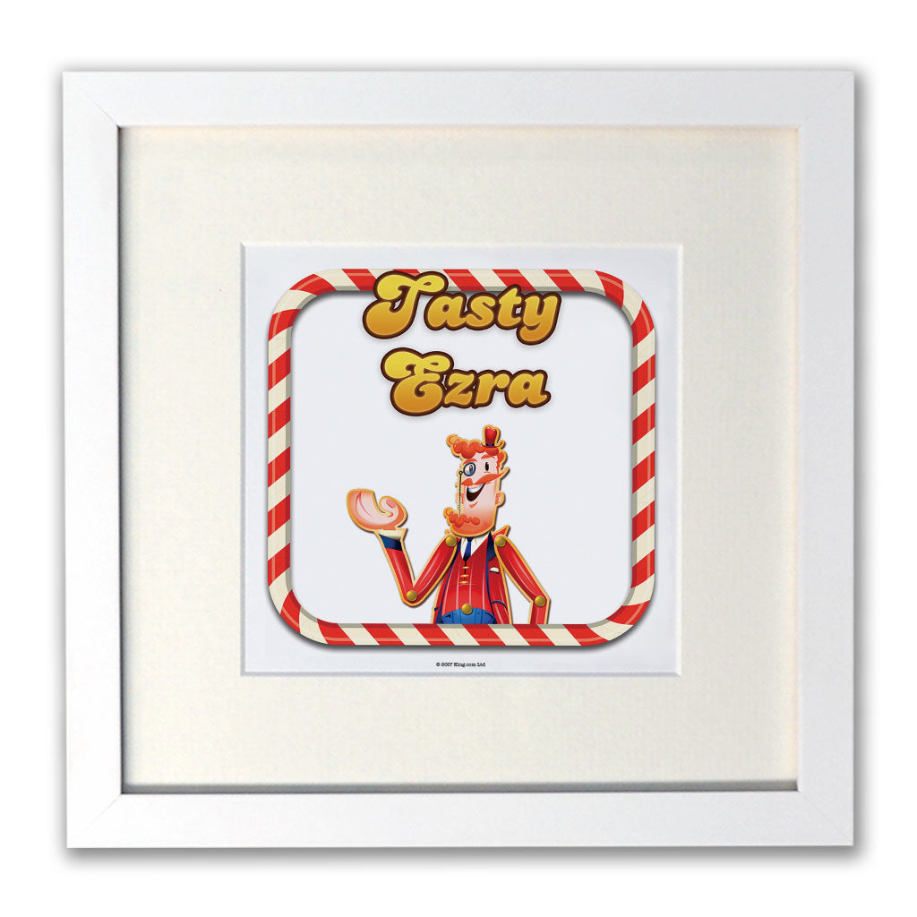 Tasty Mr Toffee White Framed Print