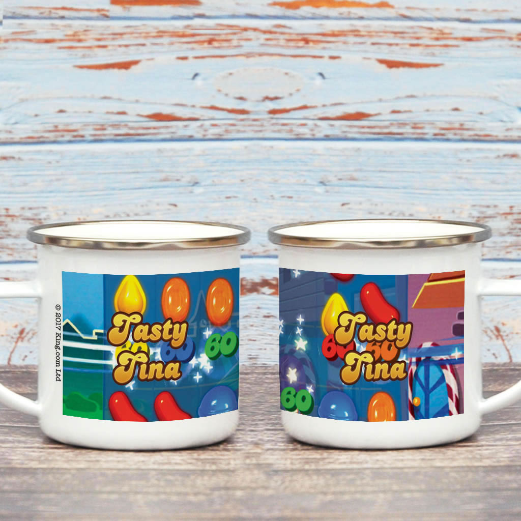 Tasty Gameboard Enamel Mug (Lifestyle)