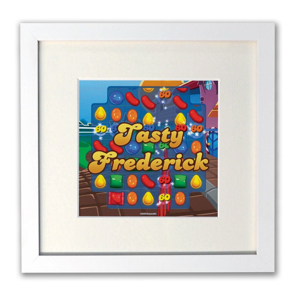 Tasty Gameboard White Framed Print