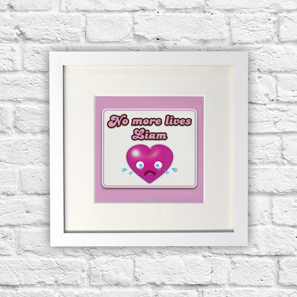 No more lives White Framed Print (Lifestyle)