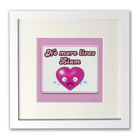 No more lives White Framed Print
